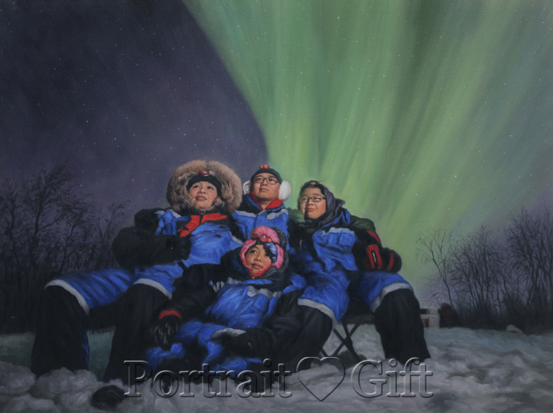 Family Watching Aurora Scenery