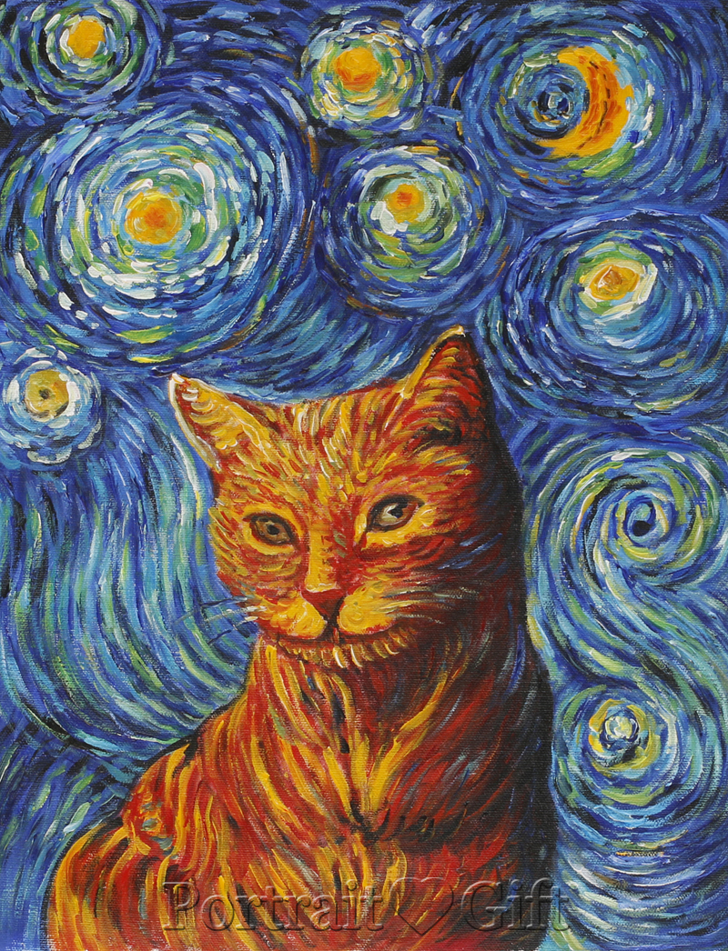 Cat with Van Gogh Starry Night Background