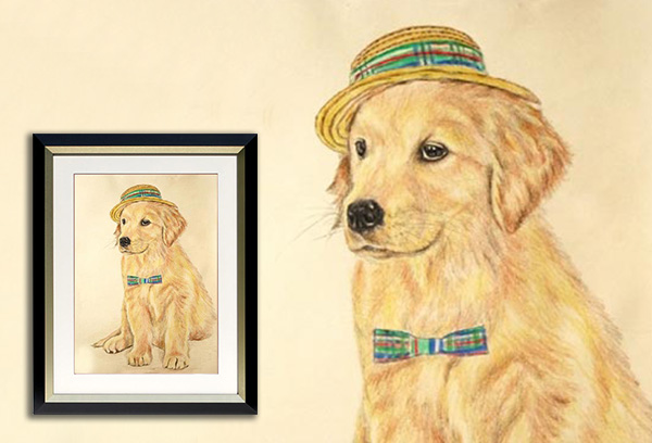 Color Pencil Dog with Hat