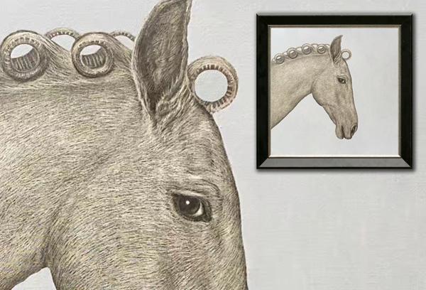 Scratchboard Horse Portrait