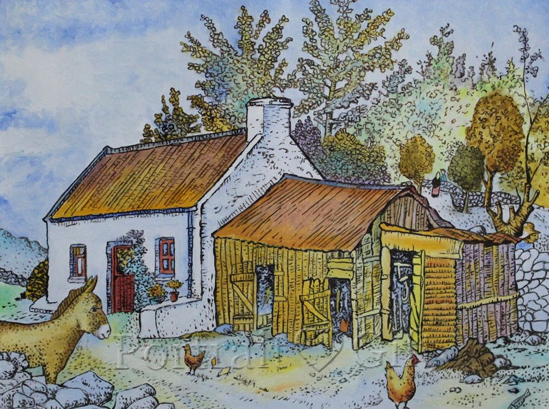 A Village House Watercolor Painting