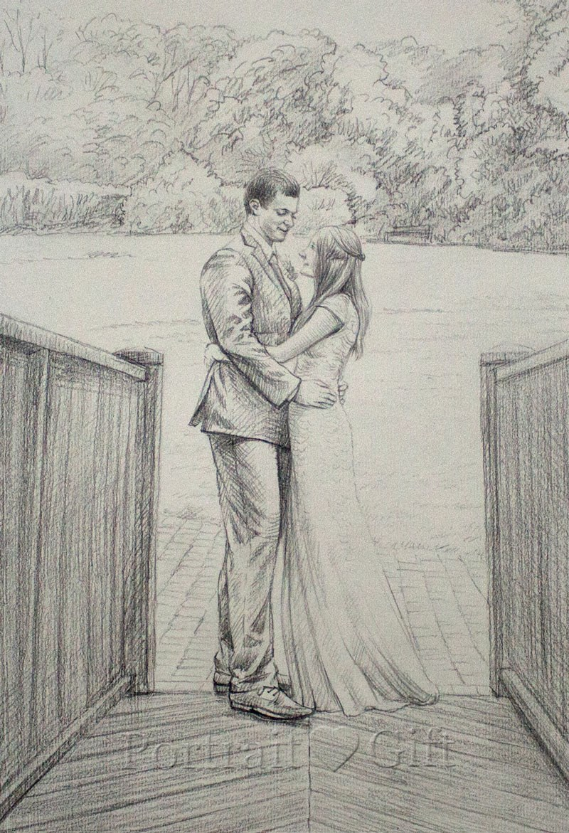 Wedding pencil sketch portrait gift