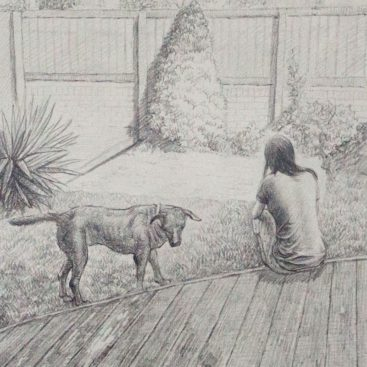 Dog with a Girl in Pencil Sketch