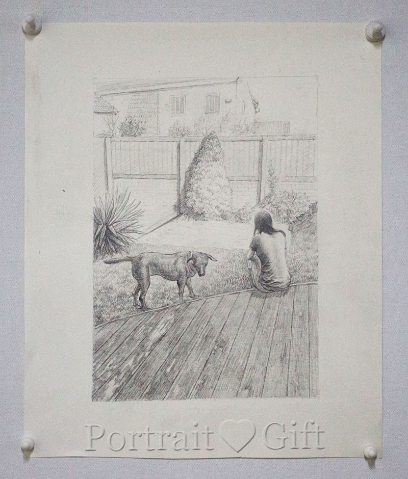 Dog with a Girl in Pencil Sketch 2