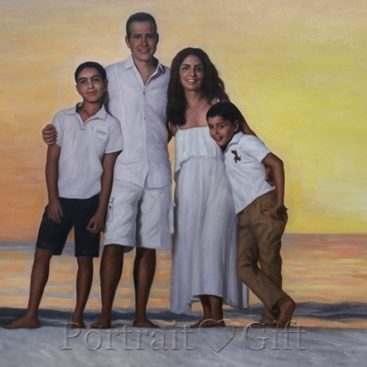 Family Oil Painting on Canvas