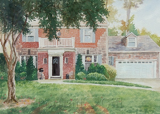 Framed House Watercolor