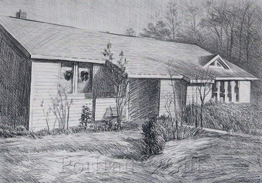 Old House Pencil Sketch Drawing