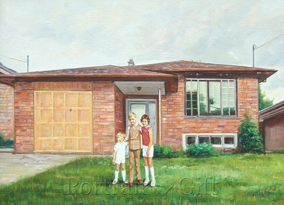 Three Kids near Their House Watercolor
