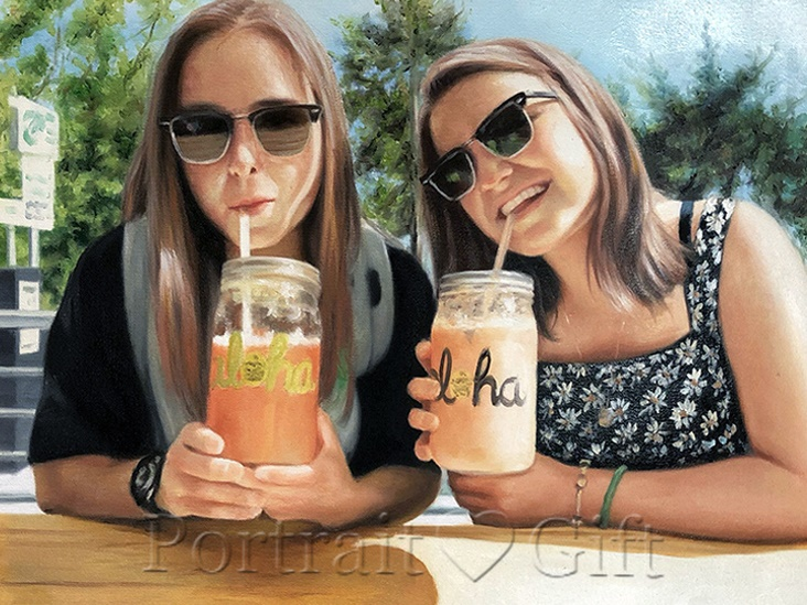 Girls Drinking Juice