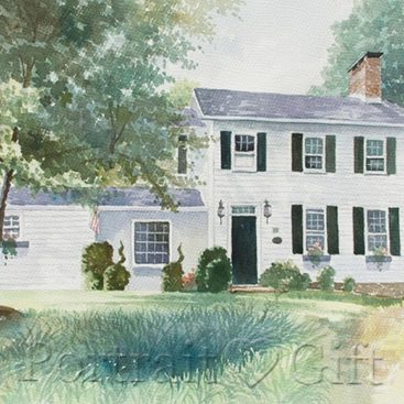 House Around Trees Watercolor