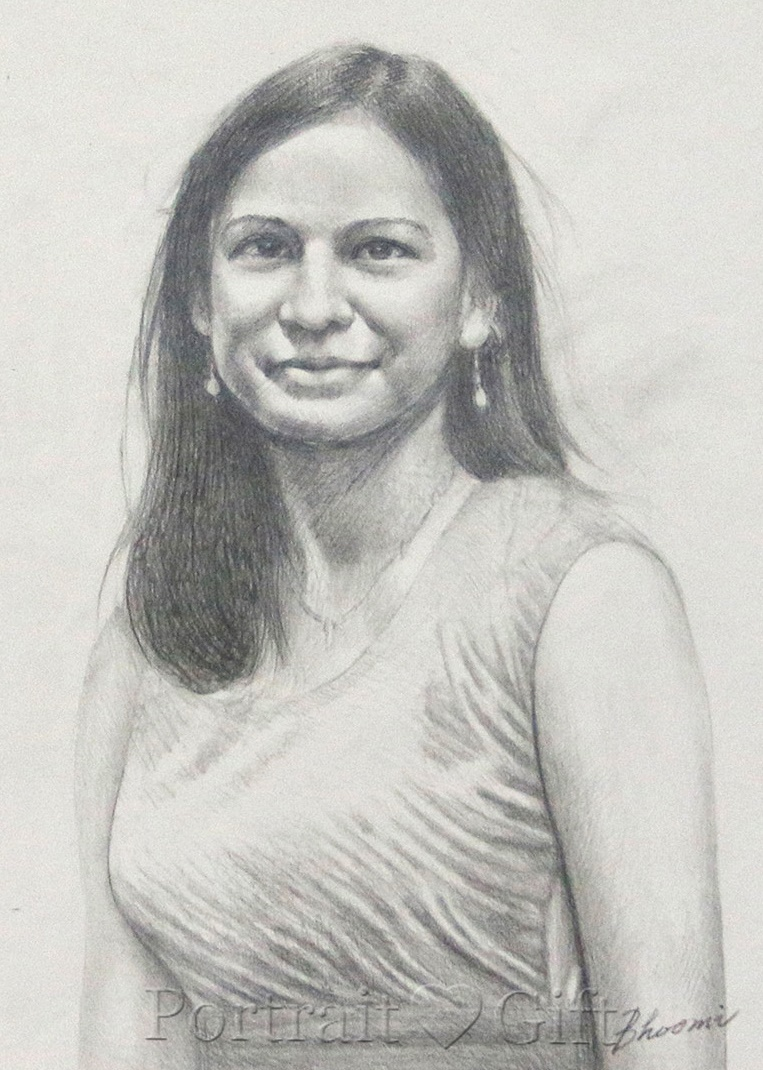 Indian Lady Wearing Sari Pencil Sketch