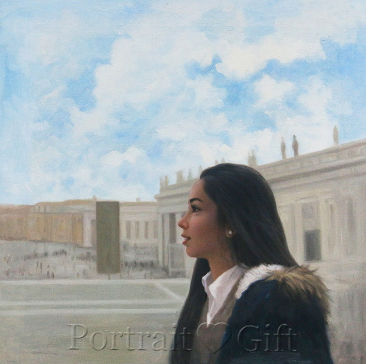 Lady Portrait Near Historical Buildings