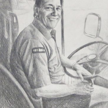 Male Driver Pencil Sketch