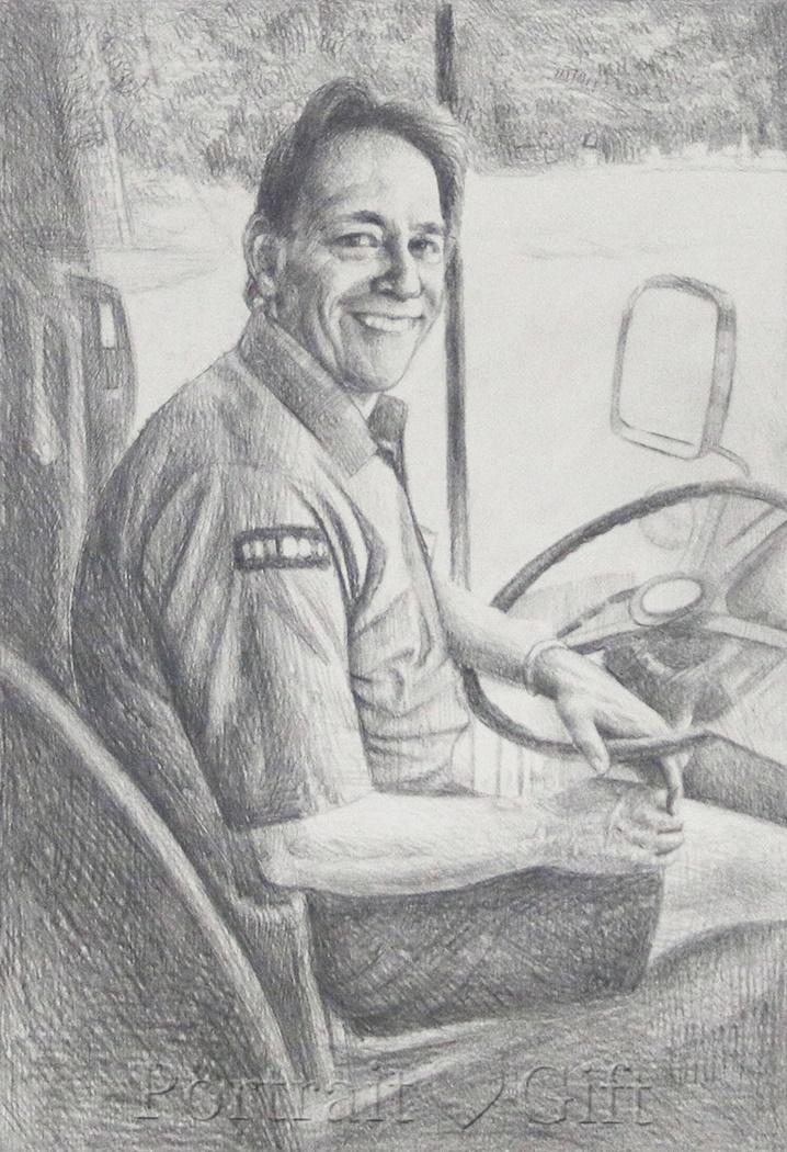 Male Driver Pencil Sketch