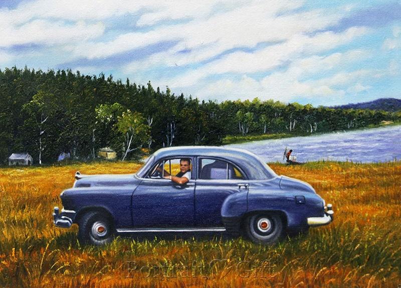 Man Driving Near a Lake